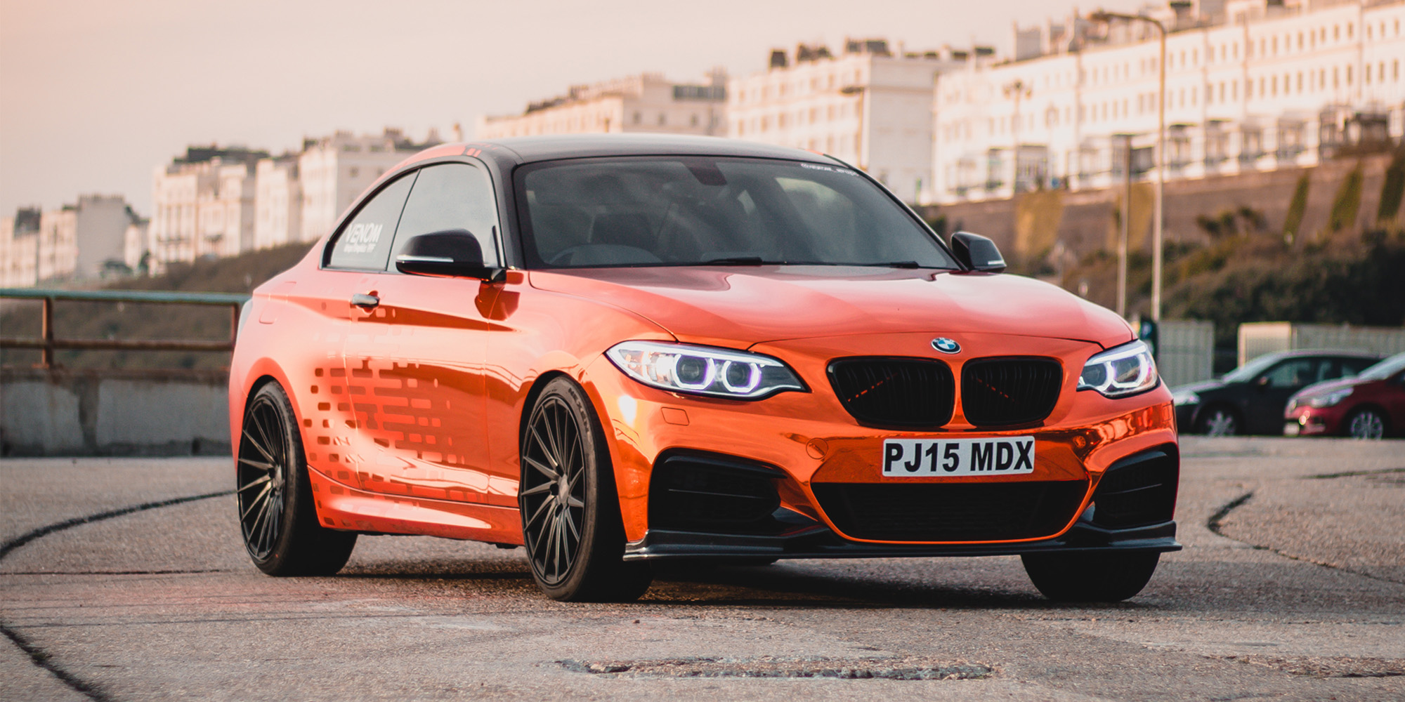 BMW 2 Full Wrap Orange Chrome Matt